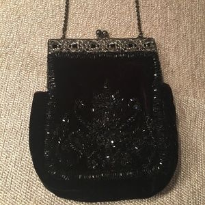 Vintage Inspired Velvet beaded purse